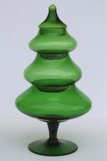 tall glass Christmas tree candy jar, vintage forest green glass tree shape apothecary jar