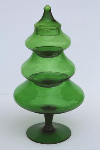 glass Christmas tree candy jar, vintage forest green glass tree ...
