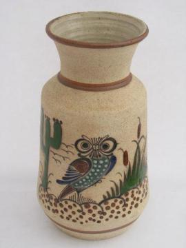 tall hand-painted Tonala Mexican pottery vase w/ owls, vintage Mexico