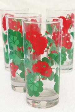 tall iced tea cooler glasses w/ red geraniums, Avon Summer Fantasy glass tumblers