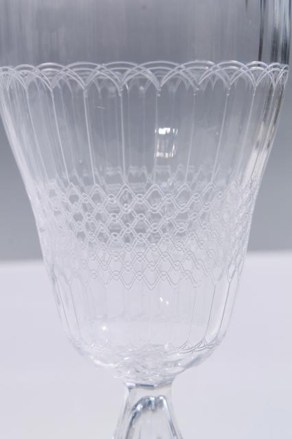 tall iced tea glasses, 8 footed tumblers in vintage panel optic needled etched glass