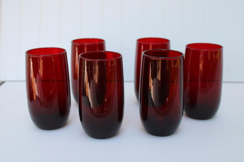 tall iced teas set of 6 drinking glasses, vintage royal ruby red roly poly tumblers