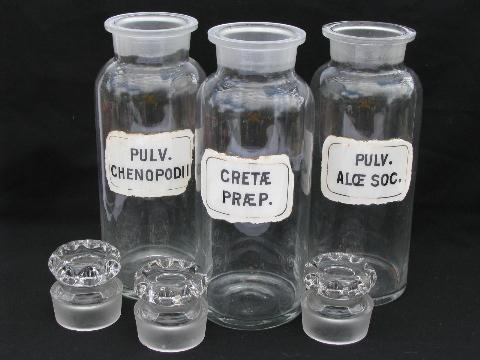 tall old apothecary bottles, antique pharmacy lot w/ original vintage medicine labels