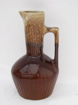 tall pitcher or carafe, retro vintage Western brown drip pottery