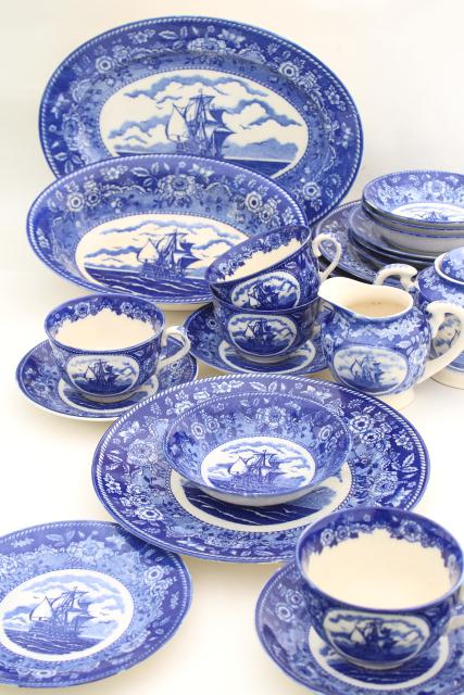 tall ships blue \u0026 white china dinnerware set 40s-50s vintage made in Occupied Japan  sc 1 st  Laurel Leaf Farm : blue china dinnerware sets - pezcame.com