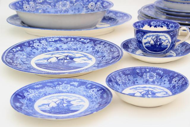 tall ships blue \u0026 white china dinnerware set 40s-50s vintage made in Occupied Japan & ships blue \u0026 white china dinnerware set 40s-50s vintage made in ...
