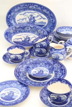 tall ships blue & white china dinnerware set, 40s-50s vintage made in Occupied Japan