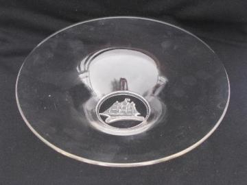 tall ships ship intaglio vintage glass, large console or salad bowl