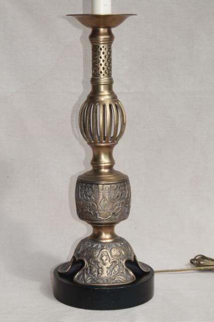 tall vintage hand wrought brass candle stick table or floor lamp, bohemian boho harem gypsy style