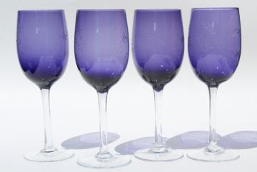 tall water glasses or wine goblets, clear stem violet blue stemware