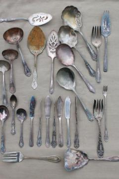 tarnished antique & vintage silverware, lot of mismatched silver plate serving pieces