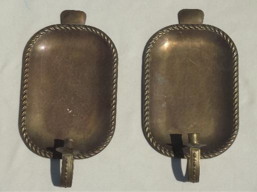 hot sale online 17b71 1bcac tarnished old brass tray wall sconces, primitive vintage ...
