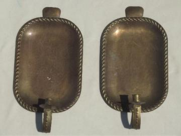 tarnished old brass tray wall sconces, primitive vintage candle sconces