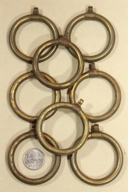 tarnished patina vintage brass curtain rings, round ring drapery hangers for big modern rods