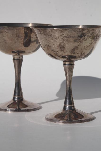 tarnished silver plate champagne coupe glasses, pair of vintage wedding goblets