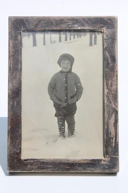 tarnished sterling silver picture frame w/ vintage photo little boy ...