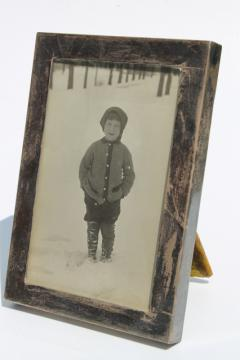 tarnished sterling silver picture frame w/ vintage photo little boy in short pants, 1940s?