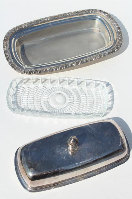 tarnished vintage silver plate covered butter dish w/ removable glass tray