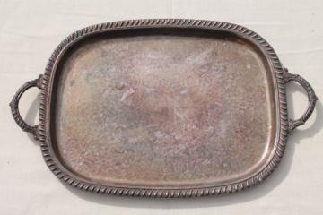 tarnished vintage silver plate waiter's tray, large serving tray w/ handles