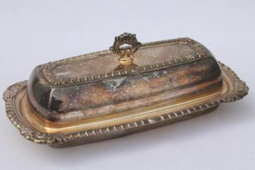 tarnished vintage silver, silverplate on copper butter dish, glass plate & cover