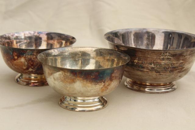 tarnished vintage silver trio of Revere bowls, small flower bowl or candy dishes