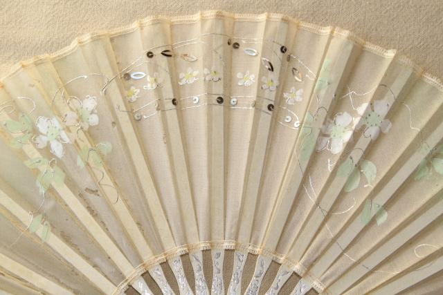 Tattered Antique Hand Painted Silk Fan Circa 1900 Vintage Debutante Ball