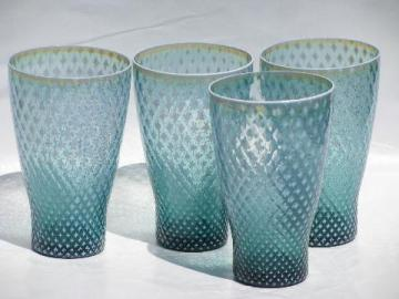 teal blue Fostoria needlepoint vintage glass tumblers, set of 4