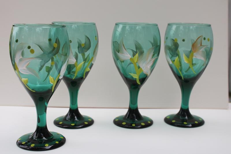 teal green glass wine glasses w/ hand painted flowers in white & chartreuse