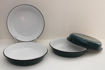 teal & white spatter enamelware dishes, camp cooking pan shape plates or bowls