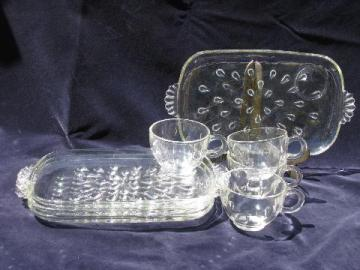 teardrop or dewdrop pattern, 1950's vintage pressed glass snack sets