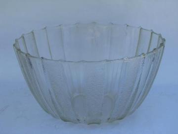 teardrop rays pattern glass, huge vintage punch bowl, 1950s vintage