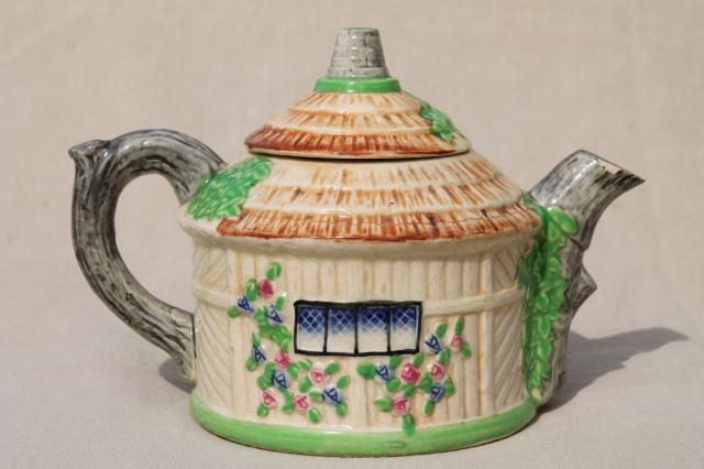 thatched cottage china teapot, vintage Japan hand painted ceramic cottageware