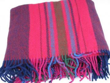 thick plaid wool throw or lap blanket, vintage Berger - Norway