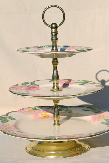 Three Tier Cake Plate Tiered Serving Tray Vintage