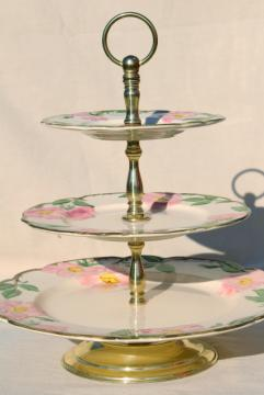 three tier cake plate, tiered serving tray vintage Franciscan Desert Rose pattern