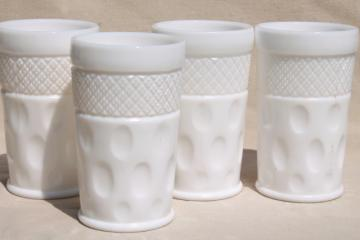 thumbprint pattern vintage milk glass tumblers, McKee diamond & dot glasses