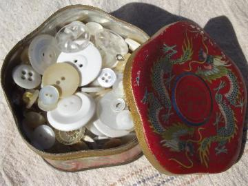 tin full antique and vintage buttons, white and ivory, mother of pearl shell etc.