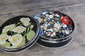 tin of vintage buttons, many shirt buttons & pearl buttons 30s 40s 50s 60s