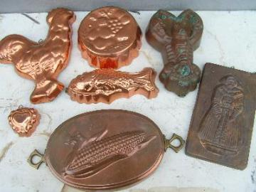 tinned copper kitchen molds, large lot, rooster etc.