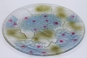 tinted color painted glass platter or cake plate, blue hydrangea floral embossed flowers