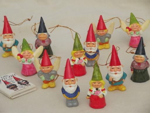 tiny book of gnomes lot of gnome christmas tree ornaments 70s vintage