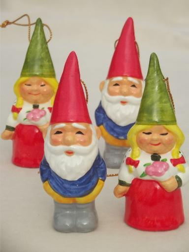 - Tiny Book Of Gnomes & Lot Of Gnome Christmas Tree Ornaments, 70s Vintage