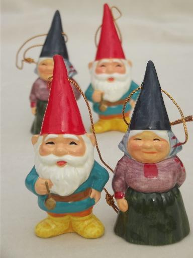 Book of Gnomes & lot of gnome Christmas tree ornaments, 70s vintage