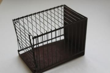 tiny antique birdcage, early 1900s vintage wire cage for mouse, birds, toy animals