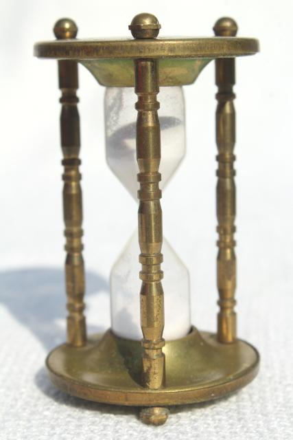 tiny brass hourglass made in England, five minute timer, vintage kitchen timer