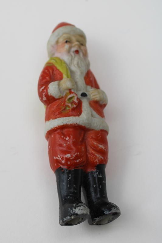 tiny china Santa Claus vintage Japan frozen penny doll Christmas decoration