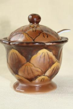 tiny china jam pot, little brown pinecone jar w/ spoon hand painted Made in Japan