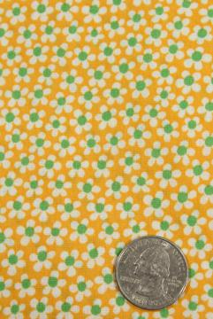 tiny daisies on yellow printed cotton fabric, 1930s vintage floral print