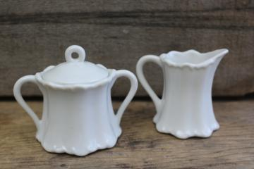 tiny demitasse size cream pitcher & sugar bowl, vintage Japan pure white china