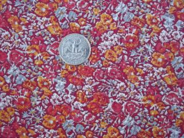 tiny floral quilting print cotton fabric, flowers in sunset orange and red